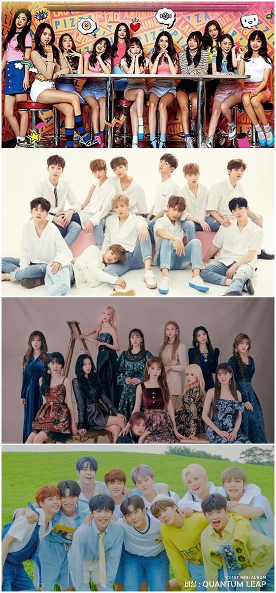 Mnet '프로듀스' 시리즈를 통해 탄생한 프로젝트 그룹 아이오아이·워너원·아이즈원·엑스원