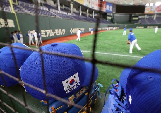 14일 도쿄돔에서 훈련하고 있는 한국 야구 대표팀. 연합뉴스 제공
