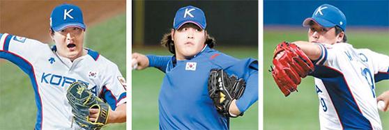 수퍼 라운드 남은 2경기에서 불펜의 역할이 더욱 중요해졌다. 한국 야구대표팀 불펜의 중심 하재훈·조상우·고우석(왼쪽부터). [연합뉴스]