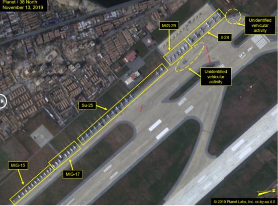 지난 11일과 13일 북한 갈마공항에서 군용기 수십대가 도열해 있는 모습이 위성사진에 포착됐다고 북한 전문 매체 '38노스'가 14일(현지시간) 보도했다. [사진 38노스 웹사이트 캡처]