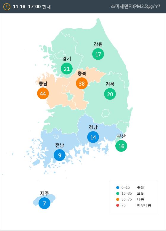 [11월 16일 PM2.5]  오후 5시 전국 초미세먼지 현황