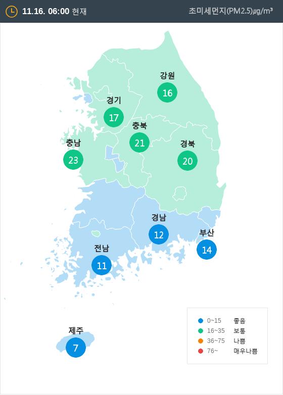 [11월 16일 PM2.5]  오전 6시 전국 초미세먼지 현황