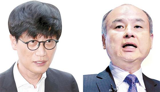 이해진 네이버 GIO 겸 라인 회장(왼쪽), 손정의 소프트뱅크 회장 [중앙포토]