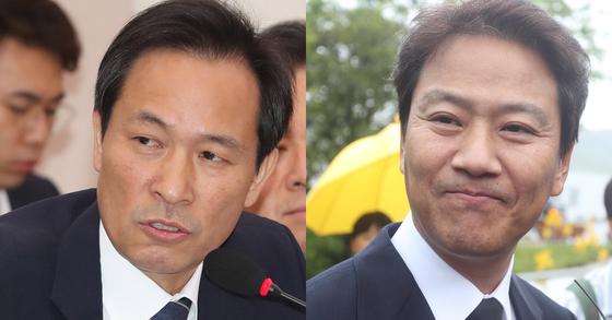 우상호 더불어민주당 의원(왼쪽)과 임종석 전 대통령 비서실장. [연합뉴스]