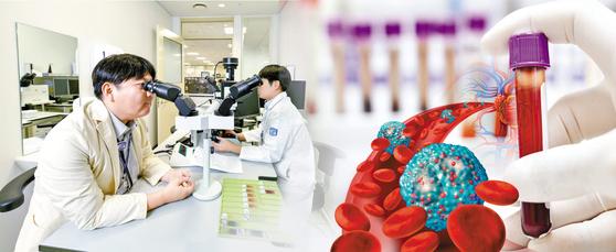 혈액내과 신승환 교수(왼쪽)가 진단검사의학과 조성진 교수와 함께 혈액암 환자의 골수 슬라이드를 보며 세포 형태를 판독하고 있다. 골수는 진단과 치료 결과 판정에 중요해 정밀 검사가 필요하다. 김동하 기자