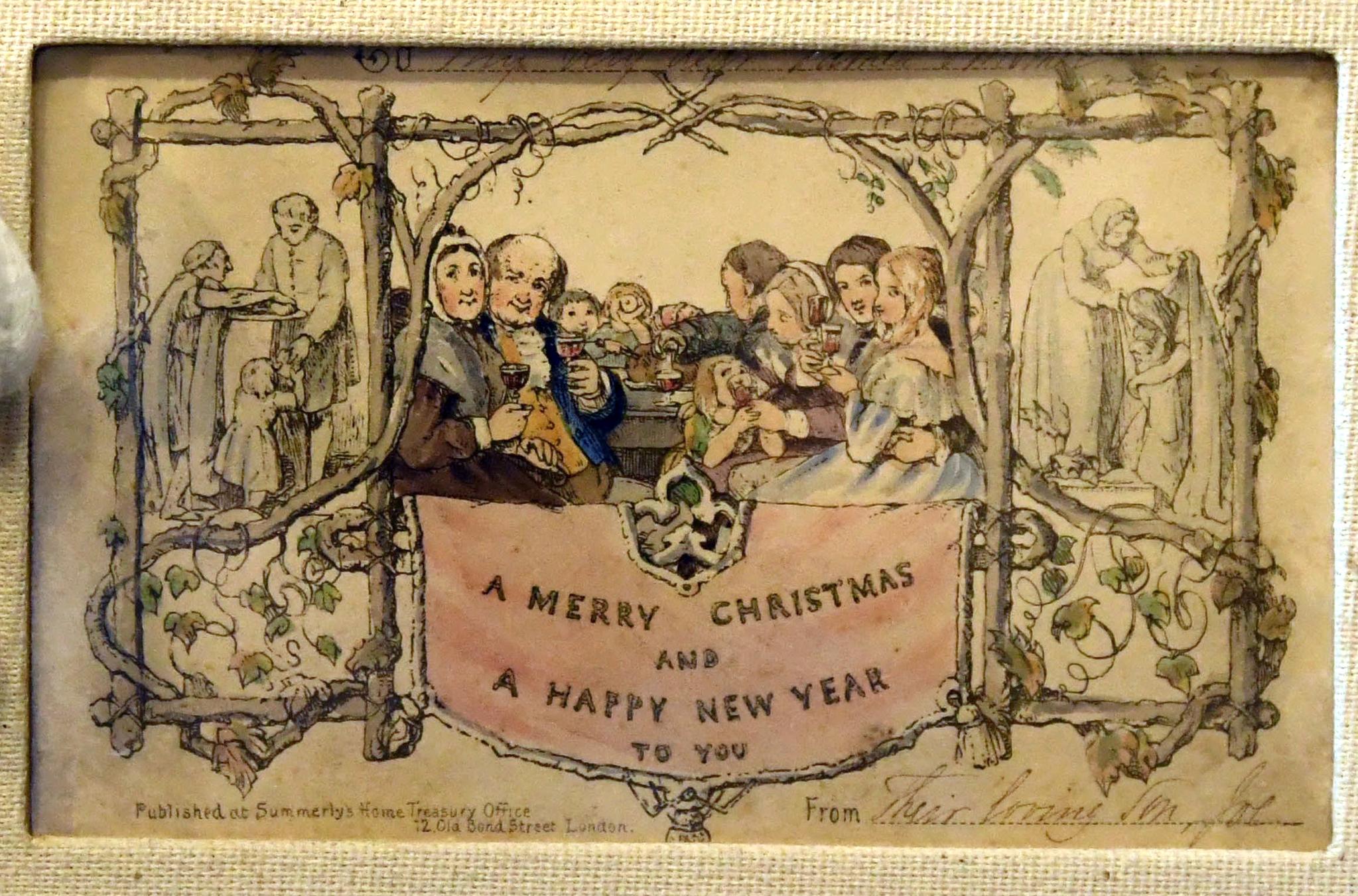 최초의 인쇄된 크리스마드 카드가 영국 런던 디킨스 하우스 박물관에 전시, 공개됐다. [EPA=연합뉴스]