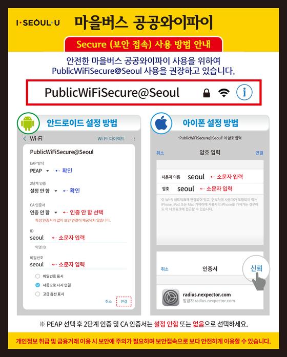 서울 마을버스 공공 와이파이 보안접속 방법. [사진 서울시]