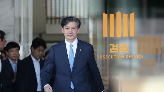 조국(54) 전 법무부 장관. 조 전 법무부 장관이 21일 오전 두 번째로 검찰에 출석해 조사를 받고 있다. [연합뉴스]