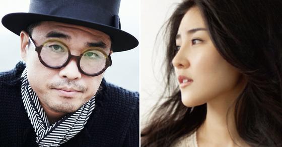가수 김건모(왼쪽)와 그의 예비신부 피아니스트 겸 작·편곡가. [일간스포츠]