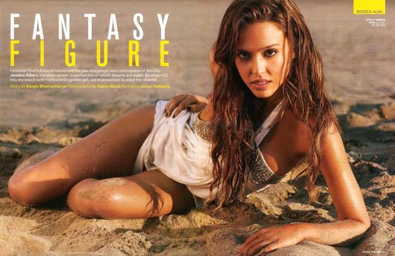 남성잡지 GQ매거진 2007년 8월호에 실린 제시카 알바(jessica-alba). [중앙포토]