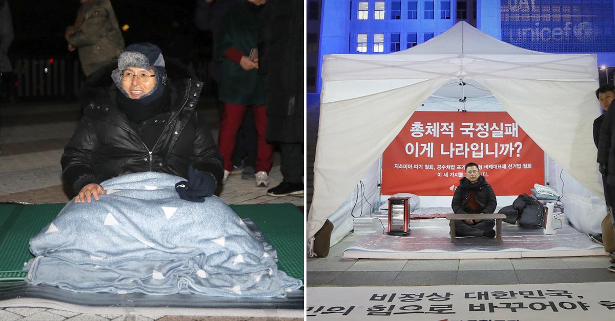 단식 투쟁 중인 황교안 자유한국당 대표. [중앙포토·연합뉴스]