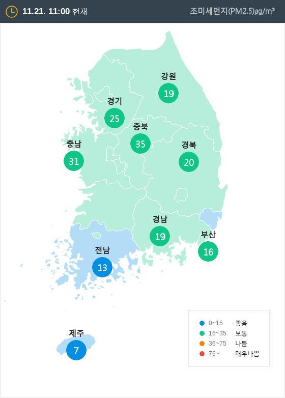 [11월 21일 PM2.5]  오전 11시 전국 초미세먼지 현황
