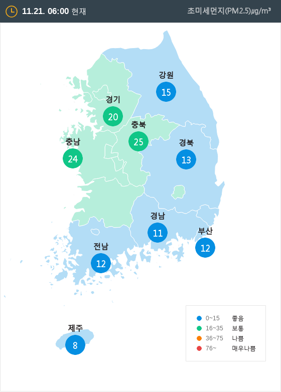 [11월 21일 PM2.5]  오전 6시 전국 초미세먼지 현황