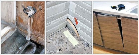 욕실 문틀 아랫부분에 곰팡이가 생겨 문틀을 뜯어보니 버섯이 자라난 모습. 벽 타일이 깨져 있거나 싱크대 문이 제자리에서 이탈한 경우 등도 있다. [연합뉴스, 중앙포토]