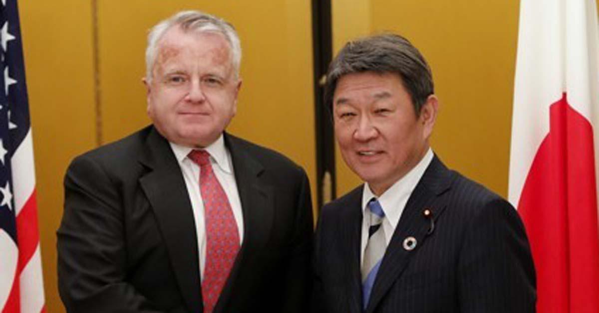 존 설리번 미 국무부 부장관(왼쪽)과 모테기 도시미쓰 일본 외무상. [AP=연합뉴스]