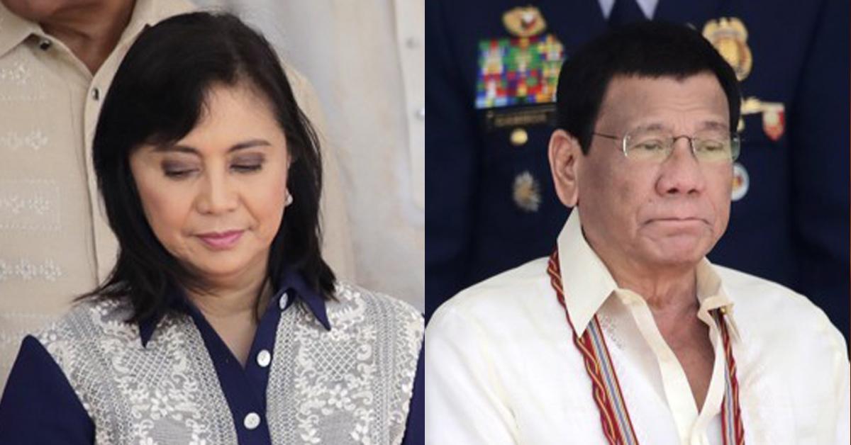 필리핀 두테르테 대통령(오른쪽)과 로브레도 부통령. [EPA=연합뉴스]