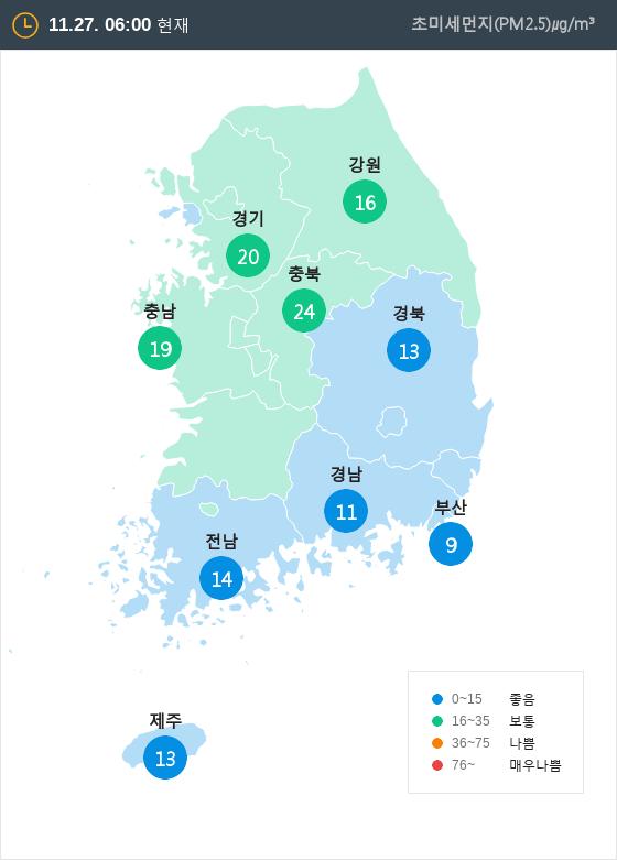 [11월 27일 PM2.5]  오전 6시 전국 초미세먼지 현황