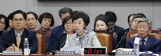 최영애 국가인권위원장(가운데)이 28일 서울 여의도 국회에서 열린 운영위원회 전체회의 회의에서 의원 질의에 답변하고 있다. [뉴스1]