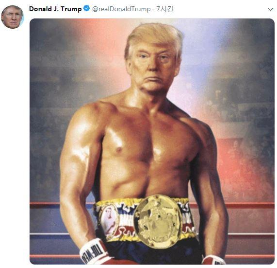 도널드 트럼프 미국 대통령이 27일(현지시간) 트위터에 올린 사진. 실베스터 스탤론이 주연한 인기 영화 '록키' 포스터에 자신의 얼굴을 합성했다. [사진 트럼프 대통령 트위터 캡처]