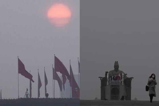 베이징(왼쪽)과 서울의 미세먼지. [AP, 뉴시스]
