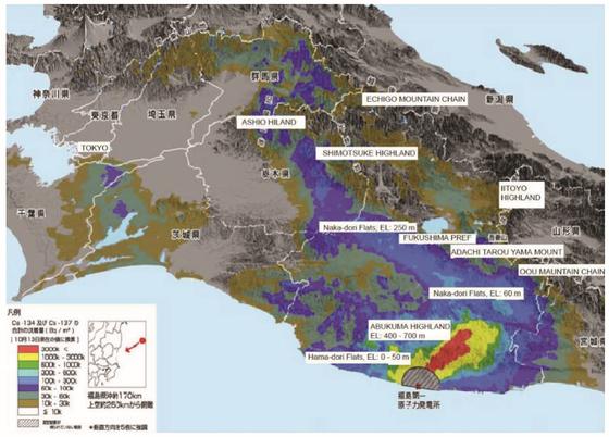 후쿠시마 원전 사고 발생 8년이 지났지만, 아직 오염은 도쿄 북쪽까지 퍼져 있다. [자료 러프 교수]