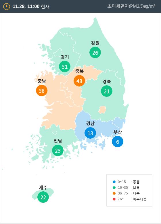 [11월 28일 PM2.5]  오전 11시 전국 초미세먼지 현황