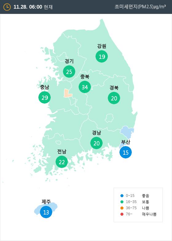 [11월 28일 PM2.5]  오전 6시 전국 초미세먼지 현황