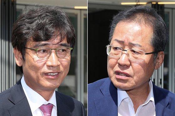 유시민 노무현재단 이사장(왼쪽)과 홍준표 전 자유한국당 대표.. [뉴스1]