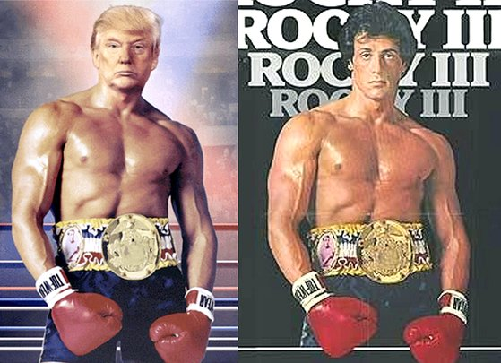 트럼프가 올린 '록키' 합성사진