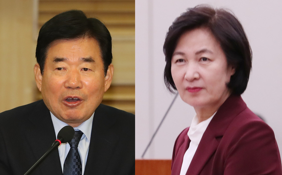 더불어민주당 김진표(왼쪽) 의원과 추미애 의원. [뉴시스]