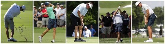 지난해 PGA 챔피언십 연습 라운드 때 반바지를 입었던 호아킨 니먼, 조던 스피스와 필 미켈슨, 키건 브래들리, 제이미 러브마크(왼쪽부터). [AP=연합뉴스]