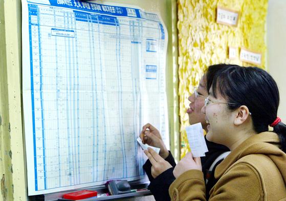 2003년 12월 서울 이화여고 학생들이 2일 수능 성적표를 받은 뒤 대학 학과배치표를 보고 있다.[중앙포토]