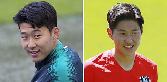 각각 영국 토트넘과 스페인 발렌시아에서 활약하고 있는 손흥민(왼쪽)과 이강인. [연합뉴스]