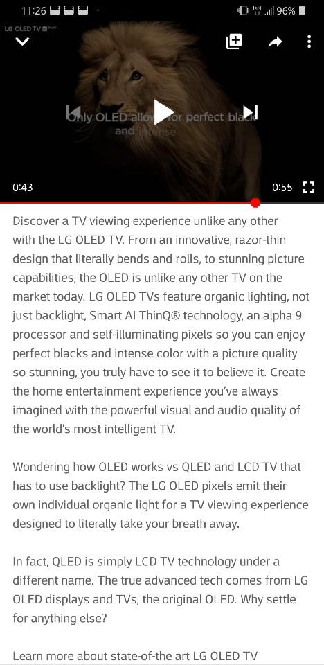 LG전자 미국법인 측이 게재한 유투브 OLED TV 광고 화면과 해설문구.