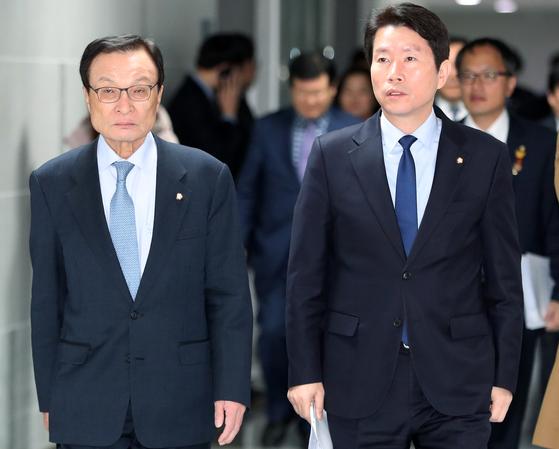 이해찬 더불어민주당 대표와 이인영 원내대표. [뉴스1]