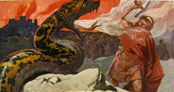 북유럽에서 가장 유명한 신 토르는 요르문간드를 물리치고 쓰러지고 만다(에밀 되플러, 1905).