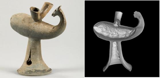 아라가야 시대의 사슴모양뿔잔 상형토기(왼쪽)와 이를 엑스선컴퓨터단층촬영으로 분석한 단면. [자료: 국립문화재연구소]