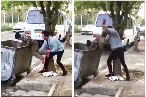 아프간 난민 소년을 쓰레기통에 밀어넣는 이란 남성. [트위터=연합뉴스]