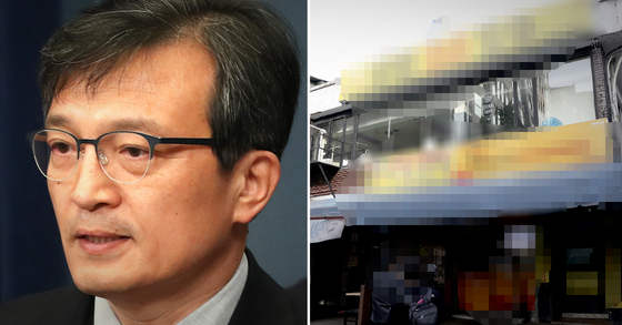 1일 김의겸 전 청와대 대변인이 자신의 SNS에 부동산 투기 의혹이 일었던 서울 흑석동 건물을 팔겠다고 밝혔다. 사진은 김의겸 전 대변인(왼쪽)과 서울 흑석동 건물. [중앙포토·연합뉴스]