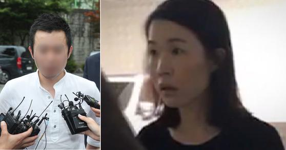 고유정의 현남편이 지난 7월 24일 취재진과 인터뷰를 하는 모습. 오른쪽은 고유정이 경찰에 붙잡힐 당시 모습. [뉴스1] [중앙포토]