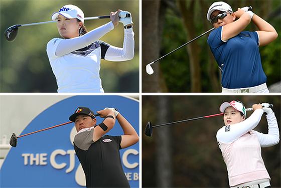 한국 여자 골퍼 가운데 미국·일본·한국에서 각각 가장 많은 상금을 기록한 고진영, 신지애, 최혜진(왼쪽 위부터 시계방향). 그러나 모두 남자 1위 임성재(왼쪽 아래)에는 못 미친다. [중앙포토]
