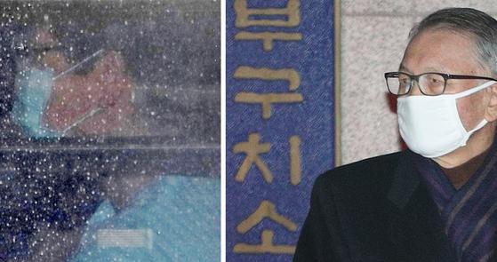 3일 오후 박근혜 전 대통령이 입원 78일 만에 서울구치소로 돌아가고 있다(왼쪽). 4일 0시 김기춘 전 비서실장이 동부구치소를 나서고 있다.[연합뉴스]