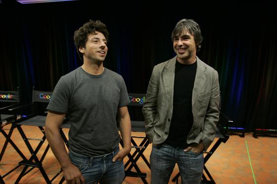 구글 공동 창업자인 세르게이 브린(왼쪽)과 래리 페이지.[AP=연합뉴스]