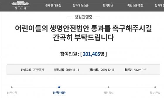 민식이법 등 통과를 호소하며 지난달 11일부터 다시 시작한 청와대 국민청원은 답변 기준선인 20만 명을 넘었다. [청와대 홈페이지]