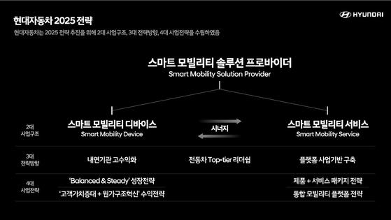 현대차그룹은 2025년까지 지능형 모빌리티 제품과 서비스 등 2대 사업구조로 개편하겠다는 계획을 내놨다. [사진 현대자동차그룹]