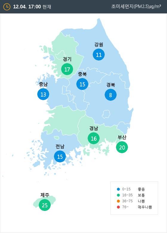 [12월 4일 PM2.5]  오후 5시 전국 초미세먼지 현황