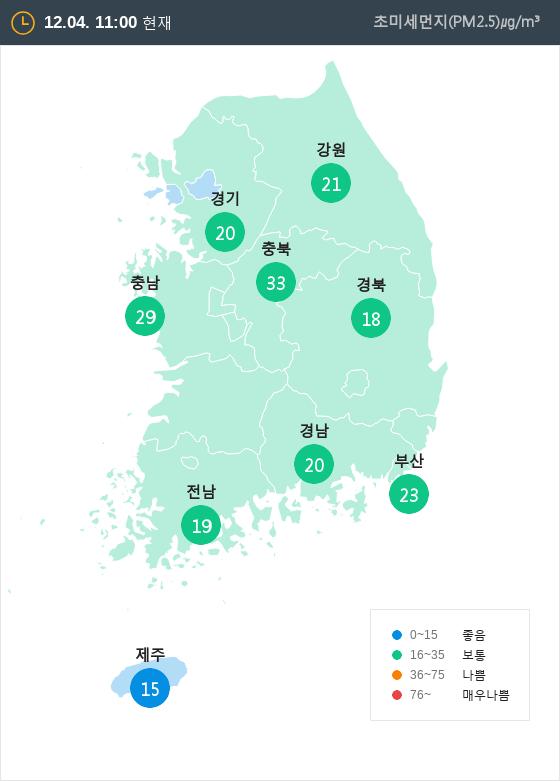 [12월 4일 PM2.5]  오전 11시 전국 초미세먼지 현황