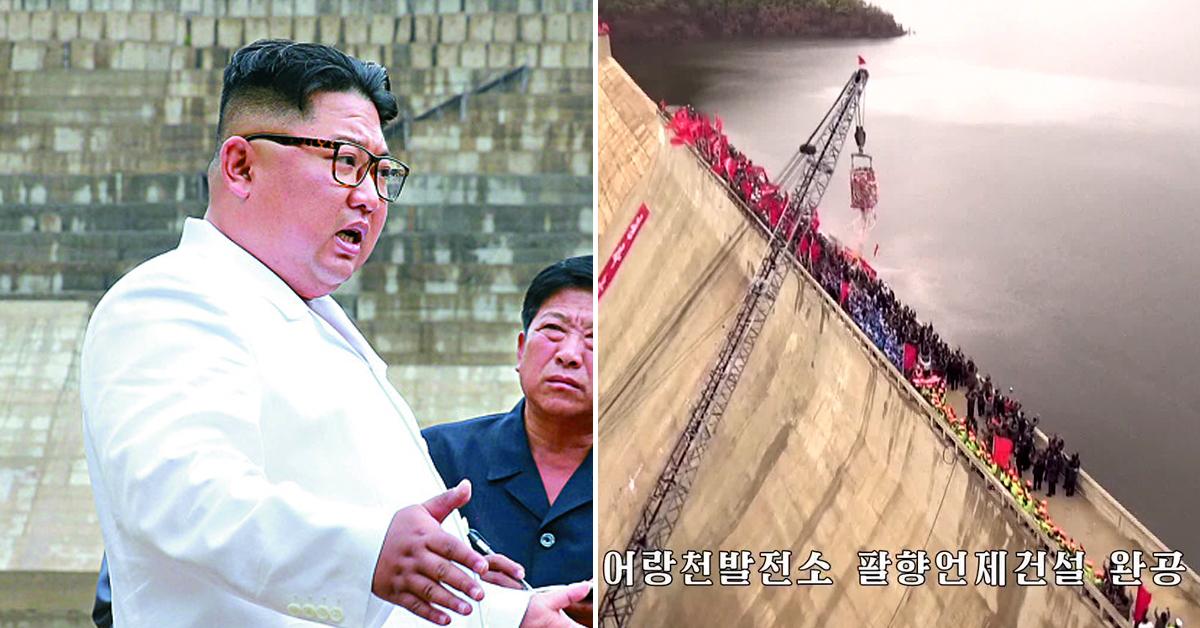 북한이 함경북도 어랑군에 건설 중인 대규모 수력발전소인 어랑천발전소의 '팔향댐(언제)'가 완공됐다고 조선중앙TV가 지난 5일 보도했다. 이 댐은 앞서 17년 동안 공사의 70%밖에 진척시키지 못해 지난해 7월 김정은 국무위원장이 현장 시찰 당시 거세게 질타했던 곳이다. 왼쪽 사진은 김 위원장이 질타하는 모습. [조선중앙TV=연합뉴스]