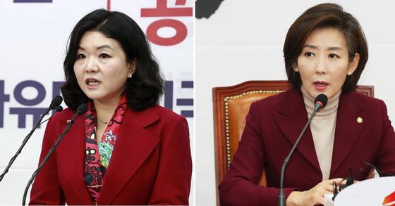 류여해 전 자유한국당 최고위원(왼쪽)과 나경원 원내대표. [중앙포토]