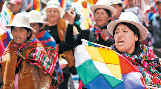 대통령 부정선거 의혹으로 시작된 볼리비아 반정부 시위. [AP=연합뉴스]